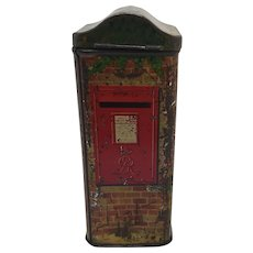Vintage Christmas post box biscuit tin