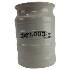 Edwardian white banded kitchen storage jar flour