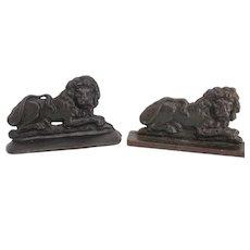 English cast iron lion doorstops folk art