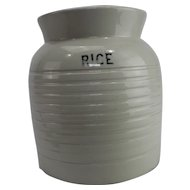 Edwardian white banded kitchen storage jar rice