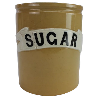 Edwardian denby sugar storage jar