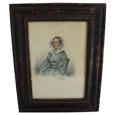 Naive watercolour of a lady dated 1841
