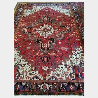 7.3 x 10.3 Vintage Top Quality Persian Heriz Rug Decorative Hand Knotted Unique One of a Kind