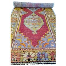 2.10 x 9.6 Antique Top Quality Turkish Ushak Runner Decorative Hand Knotted Unique One of a Kind