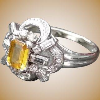 Bague en or 18K ornée d'une citrine et de diamants