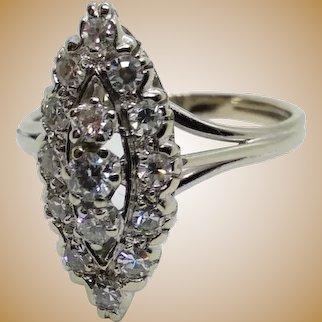 Bague Marquise en or 18K, Pavée De 15 Diamants