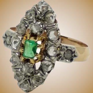 Bague marquise en or 18K, diamants et émeraude, fin du XIXe siècle