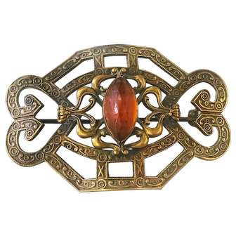 Victorian Style Pin with Amber Colored Stone