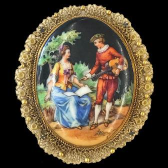 Filigree Vintage Victorian Style Scene Pin