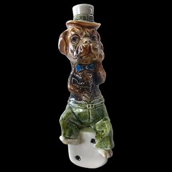 Majolica Dog Figure Cane Top/Flask