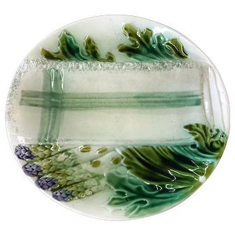 French Majolica Asparagus Plate with Folded Napkin Dipping Well