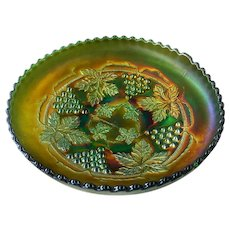 """Grape & Cable"" Pattern Spatula Footed Green Carnival Glass Bowl"