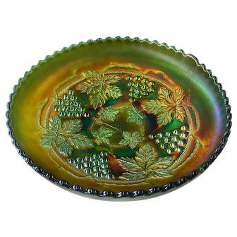 """""""Grape & Cable"""" Pattern Spatula Footed Green Carnival Glass Bowl"""