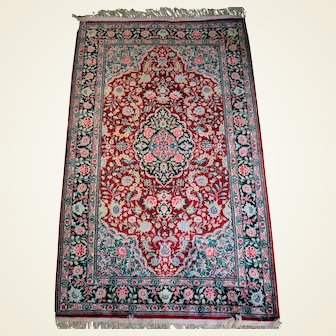 Vintage Indo-Oriental Style Hand Knotted Silk Rug 3x5
