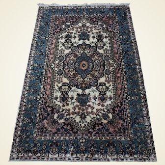 Indo-Ishfahan Silk Rug 3x5