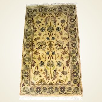 Indo-Kirman Wool And Silk Hand Knotted Rug 3x5