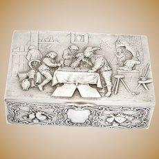 "7.75"" European Silver Georg Roth & Co. Antique German Hanau Backgammon Scene Box"