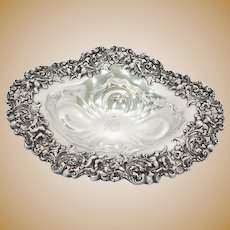 15.75 in - Sterling Silver Dominick & Haff Antique Daffodil Flower Serving Bowl