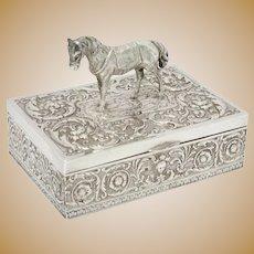 6.25 in - European Silver Gilt Interior Antique German Floral Horse Figure Box