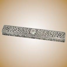 """9.25"""" Sterling Silver Gilt Interior Antique English c 1903 Conductor's Baton Box"""