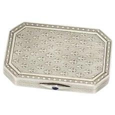 3 3/8 in - 900 Silver Sapphire Buckle Antique French Fleur de Lis Snuff Box
