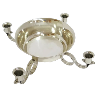 "15.5"" Sterling Silver Tiffany & Co. Antique Bowl w/ 4 Candle Holders Centerpiece"