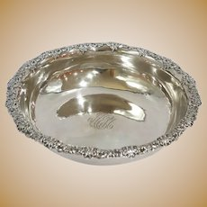 9.75 in - Sterling Silver Tiffany & Co. Antique Floral Rim Round Serving Bowl