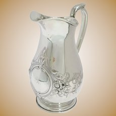 9 3/8 in - Coin Silver Schulz & Fischer S.F. Cal. Antique Floral Water Pitcher