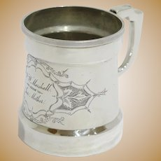3.5 in - Coin Silver Antique Floral Scroll Baby Cup
