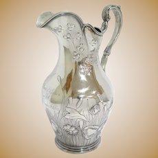 13 1/8 in - Coin Silver Gorham Antique Flower Cattail Decorated Water Pitcher