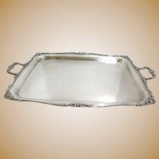 30.5 in - Sterling Silver Antique English Floral Rim Rectangular Tray