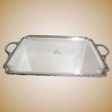 28 in Sterling Silver Cartier Antique Garland Heraldic Insignia Rectangular Tray