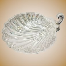 "9.5"" Sterling Silver International Silver Co Antique Footed Scallop-Shaped Plate"