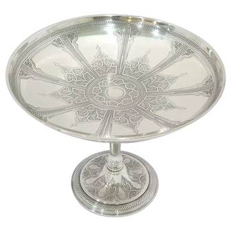 10 7/8 in - Sterling Silver Tiffany & Co. Antique Floral Ornament Compote