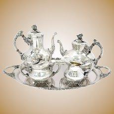 5 piece - European Silver Antique German Rose Decorated Tea Coffee Set