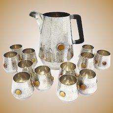 916 Silver Amber Jacek Rochacki Vintage Polish Hammered Pitcher & 12 Cups