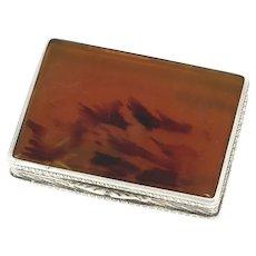 3 in - European Silver Amber Antique German Snuff Box