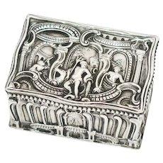European Silver Gebruder Dingeldein Antique German Hanau Neptune Snuff Box