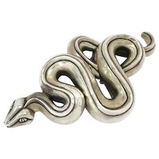 5.5 in - Sterling Silver B. Kieselstein-Cord Vintage Python Belt Buckle