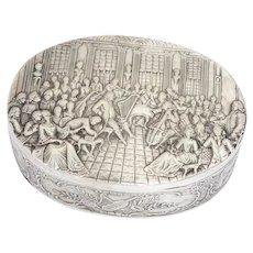 6.25 in - European Silver Antique German Hanau Concert Scene Oval Box