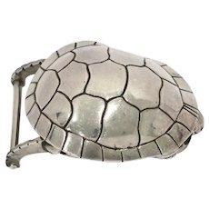 3 1/8 in - Sterling Silver B. Kieselstein-Cord Vintage Turtle Belt Buckle