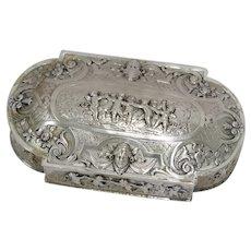 4 7/8 in European Silver Gilt Interior Antique German Hanau Dancing Cherubs Box
