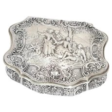 6.5 in - European Silver Antique German Socializing Scene Box