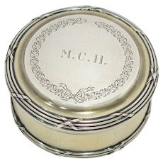 2.75 in - Sterling Silver Gilt Antique French Wreath Bow Round Jar
