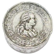 3.75 in European Silver Gilt Interior Antique Austrian King's Portrait Round Box