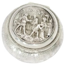 3 5/8 in - European Silver Antique Dutch Trading Scene Round Box