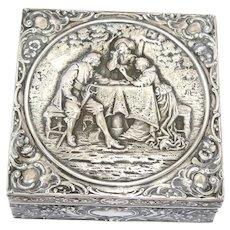 "5 3/8"" European Silver Antique German Hanau Musketeer Talking to Dame Square Box"