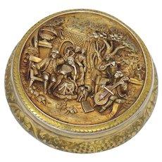 """4 3/8"""" European Silver Gilt Antique Portuguese Porto Celebration Scene Round Box"""