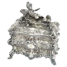 7 3/8 in - European Silver Antique German Cherub Girl Floral Scroll Ornate Box