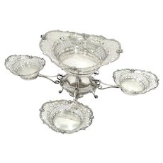 23.5 in Sterling Silver Antique English Birmingham Openwork 5 Oval Bowls Epergne
